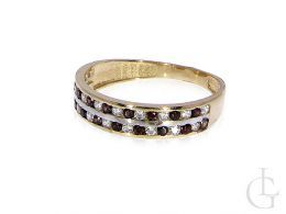 złoty pierścionek obrączka czerwone cyrkonie rubinowe i klasyczne złoto żółte próba 0.585