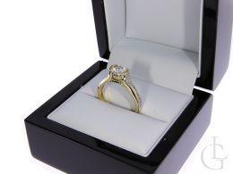 złoty pierścionek zaręczynowy nowoczesny złoto żółte próba 0.585 cyrkonia pierścionki zaręczynowe klasyczne