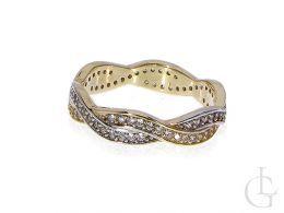 obrączka złota pierścionek cyrkonie złoto żółte14K 0.585 szeroka szyna