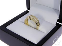 pierścionek złoty damski szeroki z cyrkoniami złoto żółte 0.585 14K