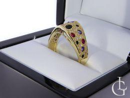 pierścionek złoty duży szeroki z dużymi kamieniami złoto żółte ekskluzywna biżuteria złota nowe wzory
