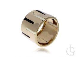 złoty pierścionek obrączka nowoczesny wzór szeroka szyna złoto żółte 0.585