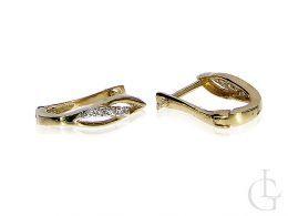 Złote kolczyki przecinki z cyrkoniami złoto żółte 14K