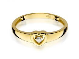 złoty pierścionek zaręczynowy z brylantami serduszko