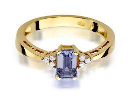 pierścionek zaręczynowy z ametystem i brylantami