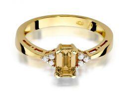 złoty pierścionek z cytrynem i brylantami kolekcja zaręczynowa