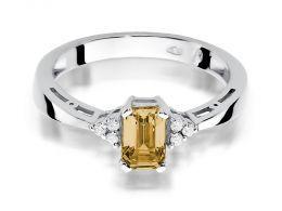 złoty pierścionek z cytryn i brylantami białe złoto 0.585