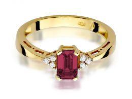 złoty pierścionek zaręczynowy z rubinem i brylantami