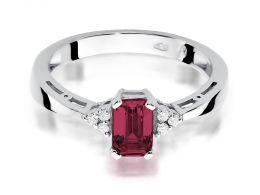 pierścionek zaręczynowy z rubinem i brylantami z białego złota