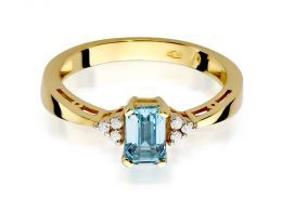 złoty pierścionek z topazem i brylantami