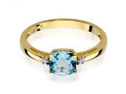 pierścionek złoty zaręczynowy z brylantami i topazem