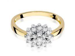 złoty pierścionek z brylantami w koszyczku