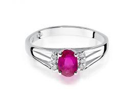 złoty pierścionek z białego złota z rubinem i brylantami