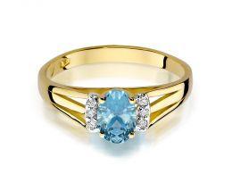 ekskluzywny pierścionek zaręczynowy z topazem i brylantami
