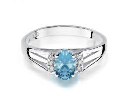 złoty pierścionek z białego złota z topazem i brylantami