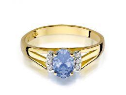 pierścionek złoty zaręczynowy z brylantami i tanzanitem