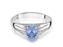 pierścionek zaręczynowy z białego złota z tanzanitem i brylantami