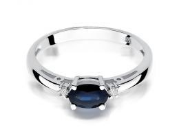 pierścionek zaręczynowy z białego złota z szafirem i brylantami