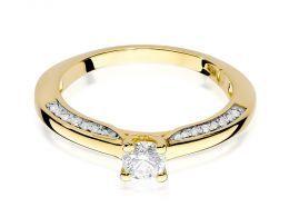 złoty pierścionek zaręczynowy z brylantami złoto żółte 0.585
