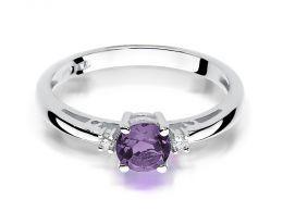 pierścionek zaręczynowy z białego złota z ametystem i brylantami