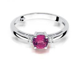 klasyczny pierścionek zaręczynowy z rubinem i brylantami