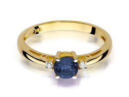 złoty pierścionek zaręczynowy z szafirem naturalnym i brylantami