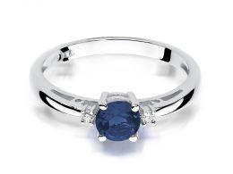 zaręczynowy pierścionek z białego złota z szafirem i brylantami