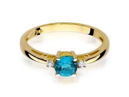 złoty pierścionek klasyczny zaręczynowy z topazem i brylantami diamentami topaz realne zdjęcia na palcu pierścionka