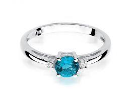 złoty pierścionek zaręczynowy topaz naturalny i brylanty złoto białe 14ct