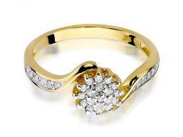 złoty pierścionek z brylantami złoto żółte 14ct