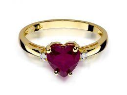 pierścionek złoty zaręczynowy serduszko z rubinem i brylantami