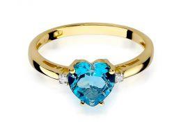 złoty pierścionek zaręczynowy serce topaz i brylanty