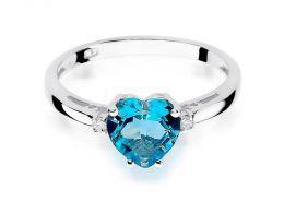 złoty pierścionek zaręczynowy z topazem i brylantami serduszko