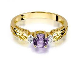 pierścionek zaręczynowy złoty z brylantami i ametystem ametyst fioletowy kamień brylanty diamenty pierścionki złote zaręczynowe z ametystem prezent zaręczyny dla żony dziewczyny na rocznicę ślubu