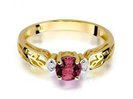 pierścionek zaręczynowy złoty z brylantami i rubinem