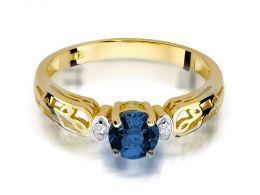 pierścionek zaręczynowy z brylantami i szafirem