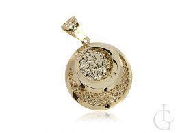 złoty wisiorek okrągły ażurowy na łańcuszek złoto żółte 0.585