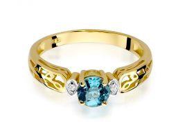 złoty pierścionek zaręczynowy brylanty i topaz