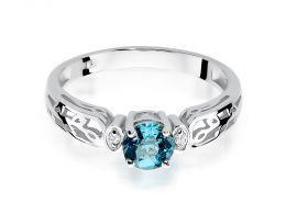 złoty pierścionek zaręczynowy z brylantami i topazem