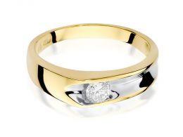 nowoczesny pierścionek zaręczynowy z brylantem złoto żółte i białe 0.585