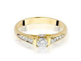 pierścionek zaręczynowy z brylantami złoto żółte 0.585