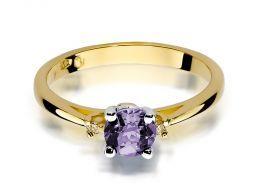 złoty pierścionek z brylantami i ametystem na zaręczyny