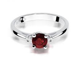 pierścionek z rubinem z białego złota i brylantami