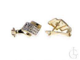 złote kolczyki diamentowane na angielskie zapięcie złoto żółte i białe próba 0.585 14ct
