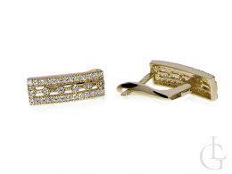 kolczyki złote z cyrkoniami przecinki na angielskie zapięcie złoto żółte 0.585 14ct
