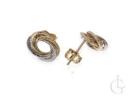 kolczyki złote owalne na sztyft złoto żółte i białe 14 karatowe złoto żółte próba 0.585