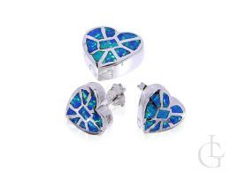 komplet biżuterii srebrnej z opalem niebieskim serduszka kolczyki na sztyft i wisiorek na łańcuszek srebro 0.925