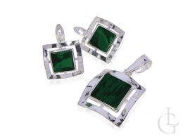 srebrny komplet biżuterii z malachitem zielonym kamieniem wisiorek i kolczyki srebro 0.925