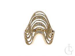 złoty pierścionek ekskluzywny duży szeroki z cyrkoniami złoto żółte 0.585 14ct
