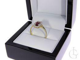 złoty pierścionek zaręczynowy z rubinem i cyrkoniami złoto żółte próba 0.585 14ct